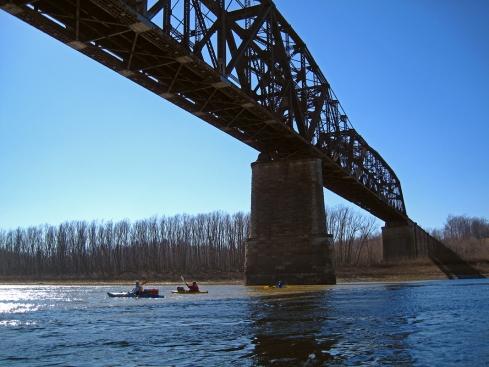Paddling under the RR bridge